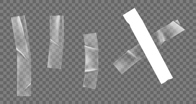 Zestaw przezroczystej taśmy samoprzylepnej z tworzywa sztucznego na białym tle. realistyczna, zmięta taśma klejąca do mocowania zdjęć i papieru. kolekcja pomarszczonych pasków. 3d ilustracji wektorowych