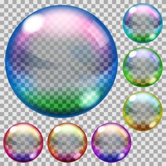 Zestaw przezroczystych baniek mydlanych w różnych kolorach