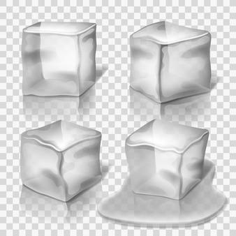 Zestaw przezroczystych bezbarwnych kostek lodu