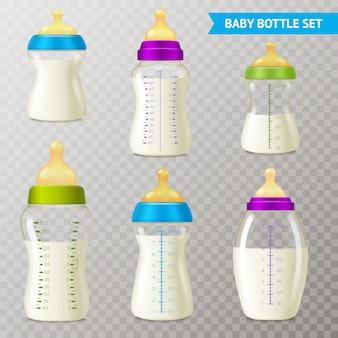 Zestaw przezroczystych butelek dla niemowląt