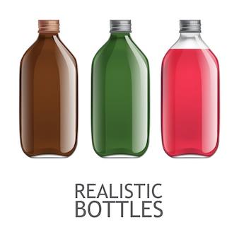 Zestaw przezroczystych butelek