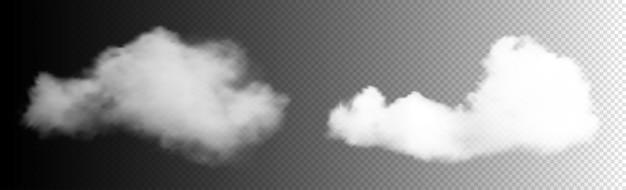 Zestaw przezroczystych chmur. białe zachmurzenie, mgła lub smog w tle. realistyczne chmury wektorowe. element projektu.