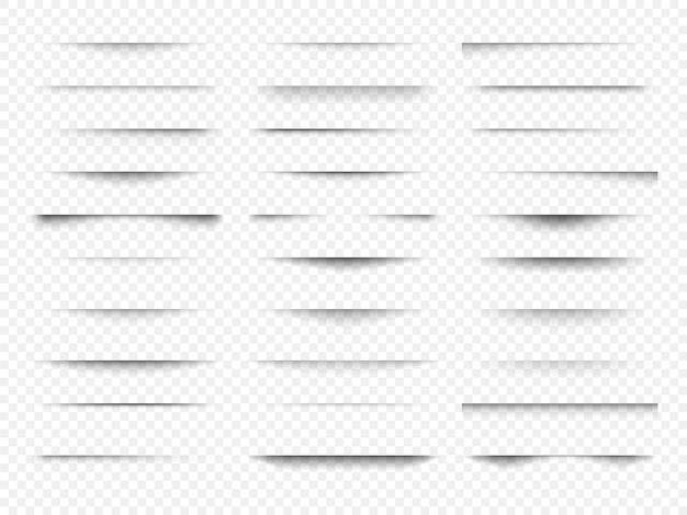 Zestaw przezroczystych cieni. realistyczny efekt cienia o różnych kształtach na przezroczystym tle.