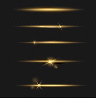 Zestaw przezroczystych efektów świetlnych, specjalne soczewki słoneczne. jasne złote błyski i odblaski