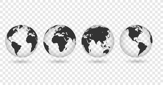 Zestaw przezroczystych globusów ziemi. realistyczna mapa świata w kształcie globu z przezroczystą teksturą i cieniem.