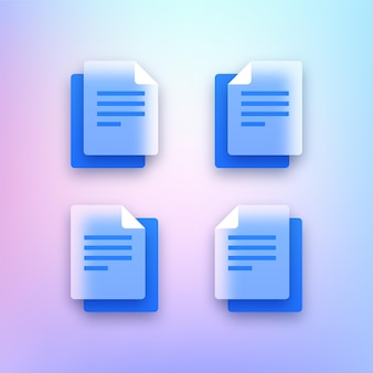 Zestaw przezroczystych ikon dokumentów