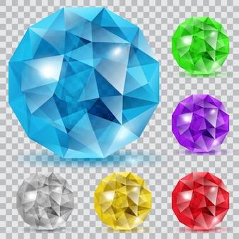 Zestaw przezroczystych kamieni w kształcie kul w różnych kolorach