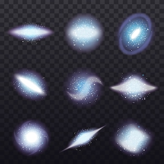 Zestaw przezroczystych klastrów gwiazd