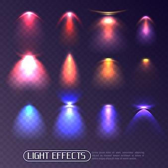 Zestaw przezroczystych kolorowych efektów świetlnych