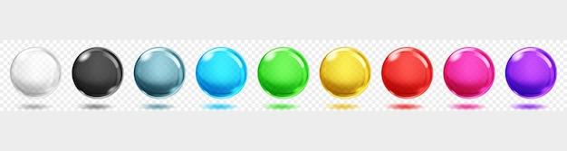 Zestaw przezroczystych kolorowych kulek z cieniami na przezroczystym