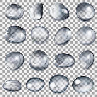 Zestaw przezroczystych kropli o różnych kształtach w szarych kolorach