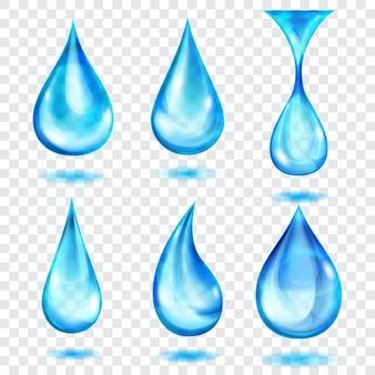 Zestaw przezroczystych kropli w kolorach niebieskim, na przezroczystym tle. przezroczystość tylko w formacie wektorowym