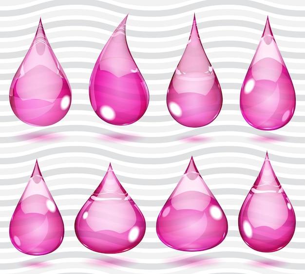 Zestaw przezroczystych kropli w nasyconych różowych kolorach