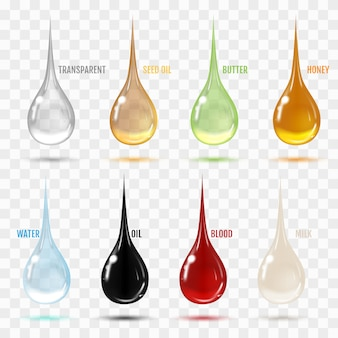 Zestaw przezroczystych kropli w szarych kolorach.