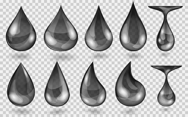 Zestaw przezroczystych kropli wody w czarnych kolorach w różnych kształtach, na przezroczystym tle. przezroczystość tylko w formacie wektorowym