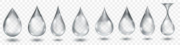 Zestaw przezroczystych kropli wody w szarych kolorach w różnych kształtach, na przezroczystym tle. przezroczystość tylko w formacie wektorowym