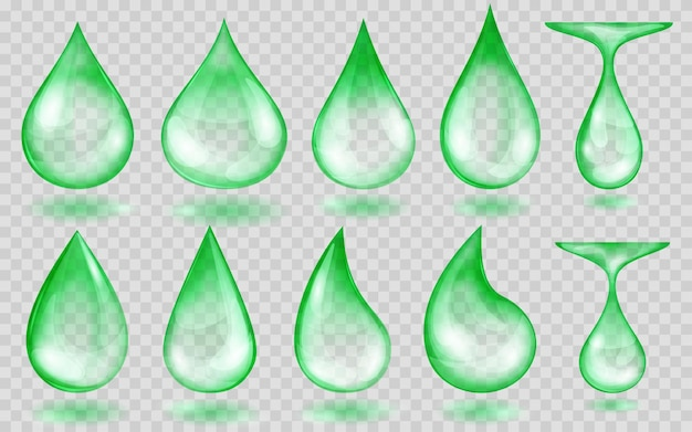 Zestaw przezroczystych kropli wody w zielonych kolorach w różnych kształtach, na przezroczystym tle. przezroczystość tylko w formacie wektorowym