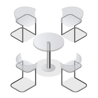 Zestaw przezroczystych krzeseł izometrycznych i okrągły stół do wnętrza kuchni, pokoju, kawiarni lub restauracji. nowoczesne projektowanie mody. na białym tle. ilustracja wektorowa.