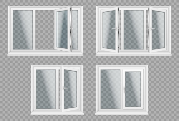 Zestaw przezroczystych metalowych okien plastikowych. oszczędność energii, łatwa w pielęgnacji, plastikowe ramy okienne pcv