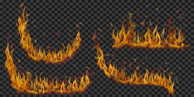 Zestaw przezroczystych płomieni ognia o różnych kształtach na przezroczystym tle. do wykorzystania na ciemnych ilustracjach. przezroczystość tylko w formacie wektorowym