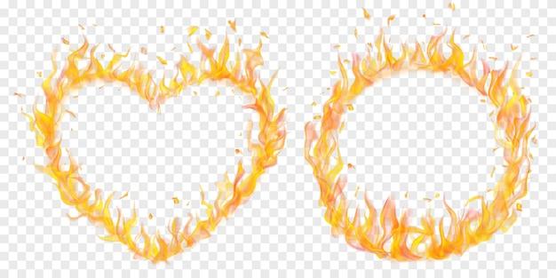 Zestaw przezroczystych płomieni ognia w kształcie koła i serca na przezroczystym tle. do wykorzystania na jasnych ilustracjach. przezroczystość tylko w formacie wektorowym