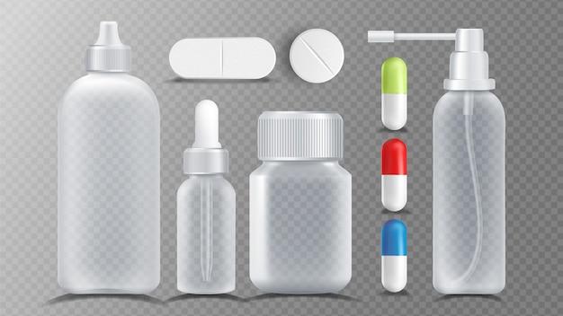 Zestaw przezroczystych pojemników medycznych
