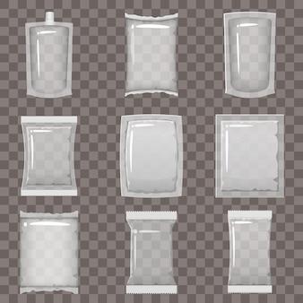 Zestaw przezroczystych pustych opakowań plastikowych i makiet pojemników próżniowych do przechowywania produktów spożywczych