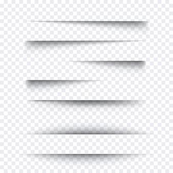 Zestaw przezroczystych realistycznych efektów cienia papieru. baner internetowy. element dla wiadomości reklamowej i promocyjnej na białym tle. ilustracja do swojego projektu, szablonu i witryny.
