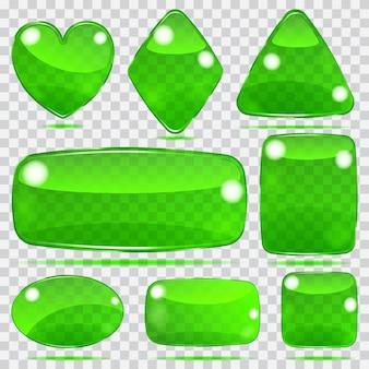 Zestaw przezroczystych szklanych kształtów w zielonych kolorach