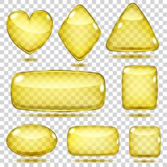 Zestaw przezroczystych szklanych kształtów w żółtych kolorach