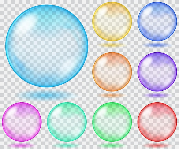 Zestaw przezroczystych szklanych kulek w różnych kolorach z odblaskami i cieniami.