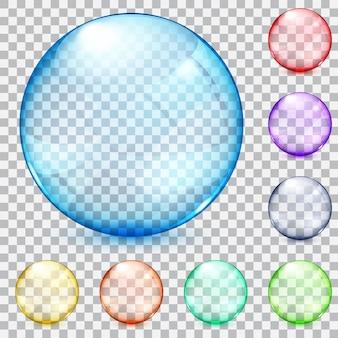 Zestaw przezroczystych szklanych kulek w różnych kolorach