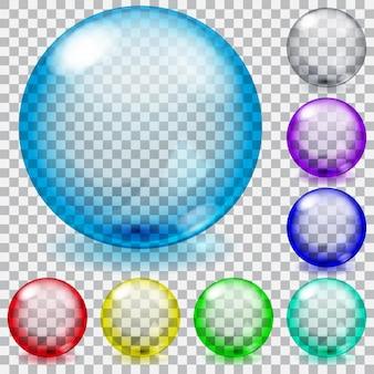 Zestaw przezroczystych szklanych kulek z odblaskami i cieniami w różnych kolorach