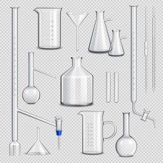 Zestaw przezroczystych szklanych naczyń laboratoryjnych