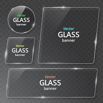 Zestaw przezroczystych szklanych płyt. przejrzyj baner. plastikowy sztandar z odbiciem i cieniem.