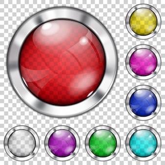 Zestaw przezroczystych szklanych przycisków w różnych kolorach z metalicznymi krawędziami