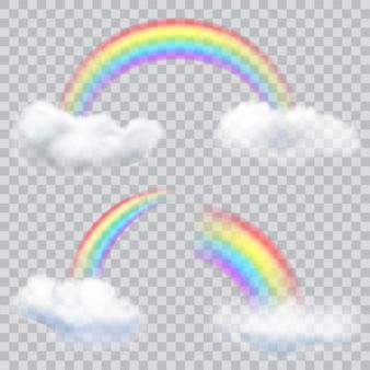Zestaw przezroczystych tęczy z chmurami. przezroczystość tylko w formacie wektorowym