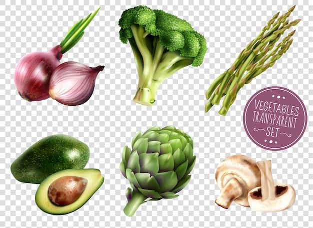 Zestaw przezroczystych warzyw