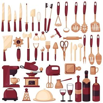 Zestaw przyborów kuchennych do gotowania. kuchnia, gotowanie, technologia kuchni, smak, pyszne. ekspres do kawy, mikser, noże, łyżka, widelec, szufelki, nożyczki.