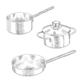 Zestaw przyborów kuchennych do gotowania.