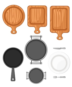 Zestaw przyborów kuchennych. drewniana deska do krojenia, patelnia, patelnia i biały talerz ceramiczny. płaskie ilustracja na białym tle.