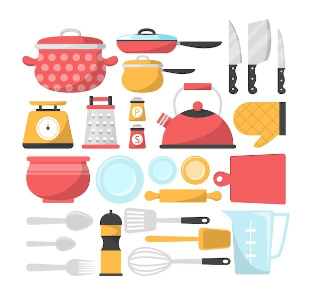 Zestaw przyborów kuchennych na białym tle. kolekcja akcesoriów do gotowania
