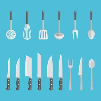 Zestaw przyborów kuchennych, narzędzi. noże, łyżki, widelce, szpatułka itp. w płaskiej formie.