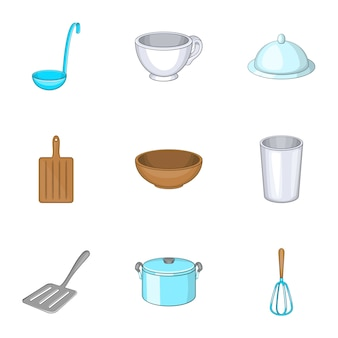Zestaw przyborów kuchennych, styl kreskówkowy