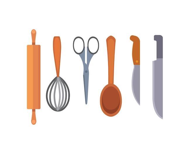Zestaw przyborów kuchennych. styl narzędzi do gotowania. gotować obiekty wyposażenia.