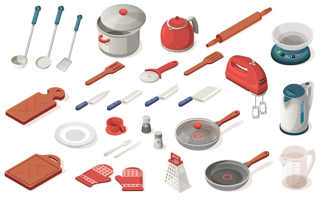 Zestaw przyborów kuchennych, żywności, sprzętu, urządzeń. ociekacz, rondel, nóż, czajnik, miarka, łopatka, wałek do ciasta, waga, mikser, deska do krojenia, talerz, filiżanka, pieprzniczka, rękawiczki, tarka, krajalnica do pizzy