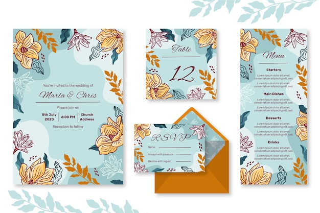 Zestaw przyborów ślubnych w kwiaty