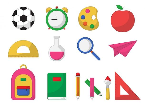 Zestaw przyborów szkolnych. elementy edukacji na białym tle