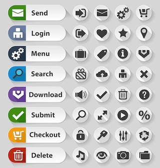 Zestaw przycisków biały web design