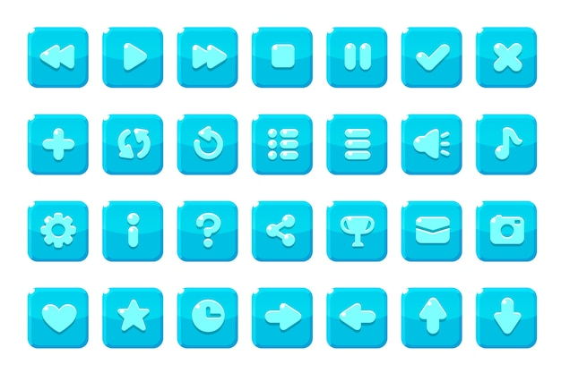 Zestaw przycisków do gier, aplikacji i stron internetowych.